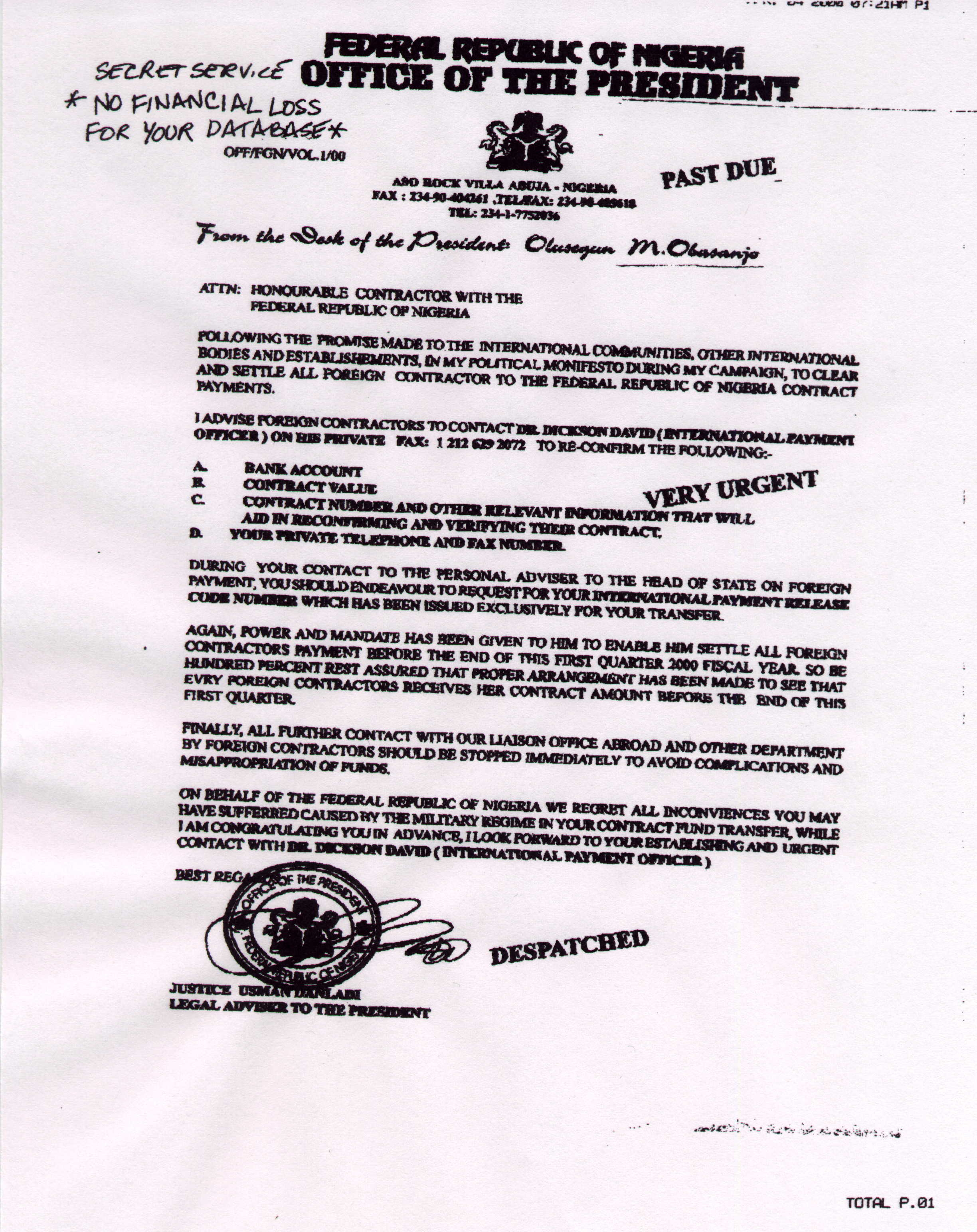 Nigerian scam letters